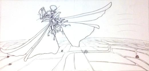 Flying spread sketch