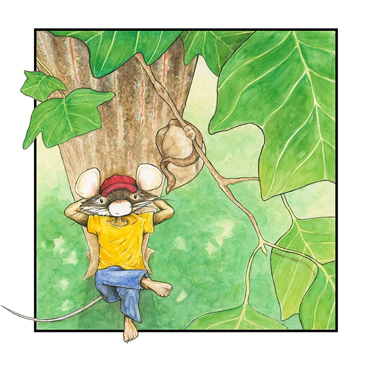 Little Mouse, under tulip tree, spies a cocoon, watercolor