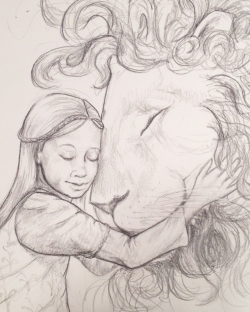 Lucy and Aslan sketch 2