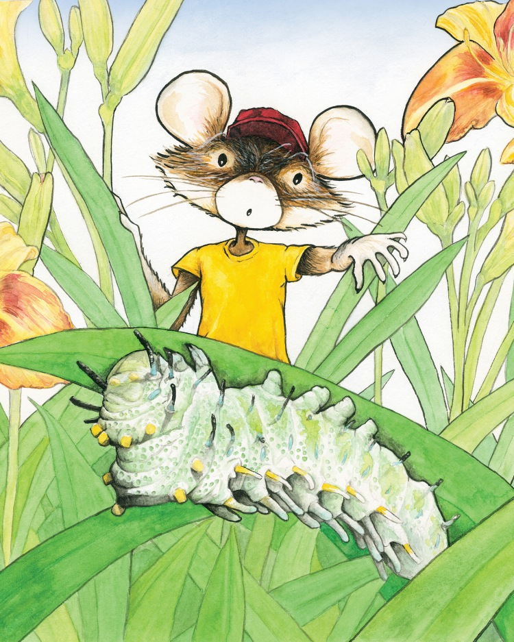 An anthropomorphized mouse with a red ball cap and yellow t-shirt is holding aside large blades of grass as he peeks through a patch of day lilies at a large green squishy caterpillar.