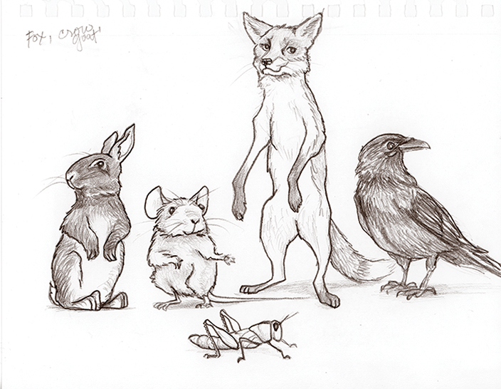 Pencil drawing of a line up of smiling animals: A bunny on hind legs looking sideways, a mouse on hind legs facing front, a fox on hind legs facing front, a raven standing sideways looking over his wing, and in front a grasshopper.