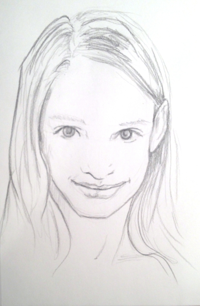 Pencil sketch of a smiling girl with long hair. Her hair is tucked behind her ear on one side.