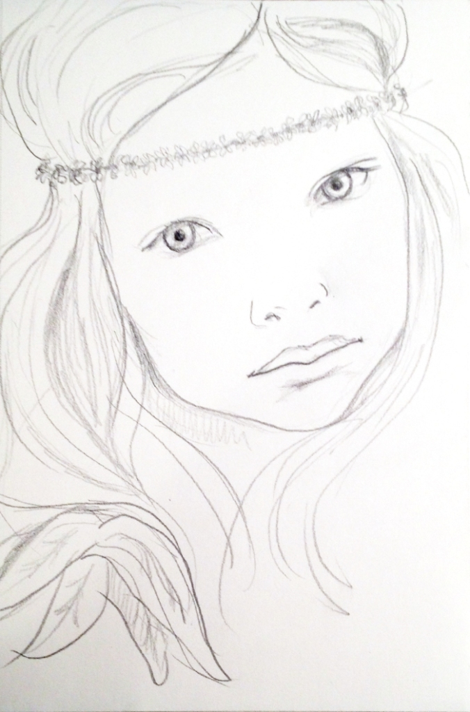 Pencil sketch of a little girl with a flower wreath mad of tiny daisies around her head.