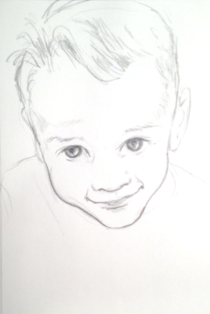 Pencil sketch of a little boy with a big cowlick looking up with a sweet smile.
