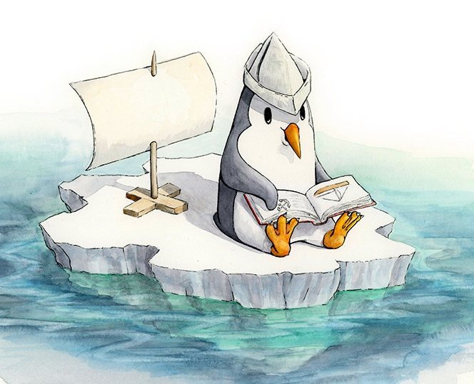 A cute little penguin is sitting on his own little ice floe. There is a make-shift sail on a stick and held up with boards as a base. The penguin is wearing a pretend captain's hat made from a newspaper and he is sitting, with the sail behind him, reading a book. The pages that are open show a small sailboat and an anchor along with lines that could be text.