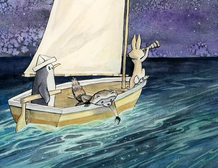 Three friends are in a small sail boat on a starry night with bioluminescent creatures glowing in the water: A penguin in a newspaper captains hat is at the tiller, a raccoon leaning over the edge with his forefinger in the water, and a rabbit looking ahead through a spy glass