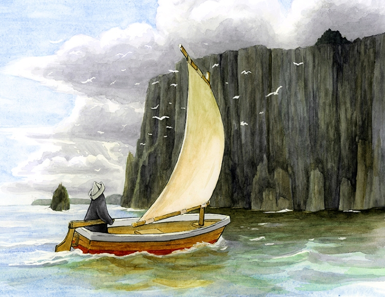 A penguin steers a small sail boat by tall black cliffs. Their are white seagulls flying between him and the cliffs. The blue sky is getting covered in dark clouds.