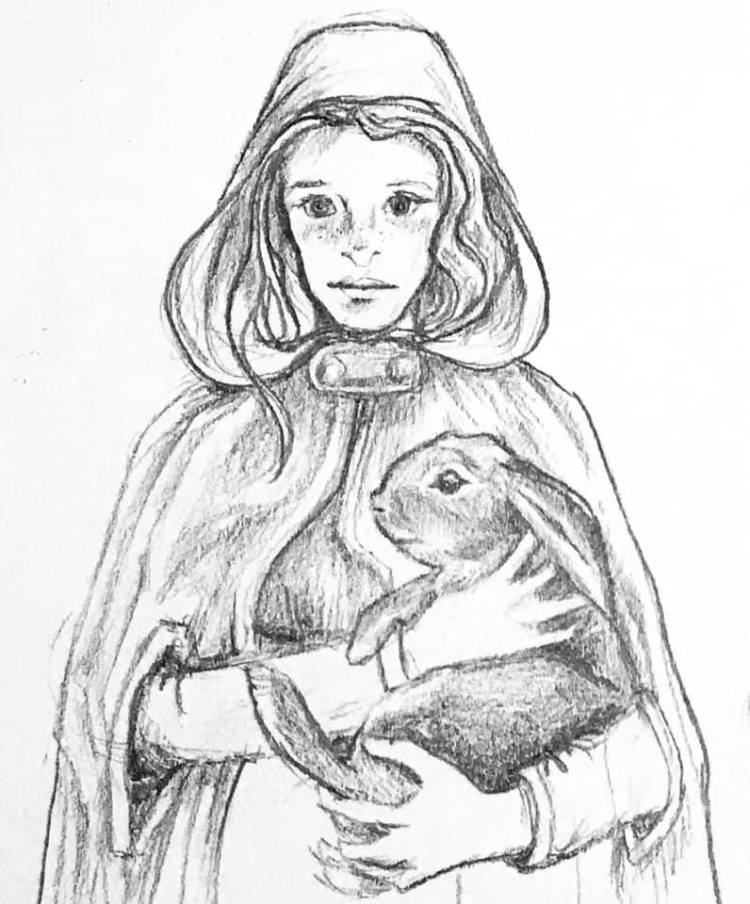 Pencil sketch of a girl with freckles in a hooded cloak holding a bunny.
