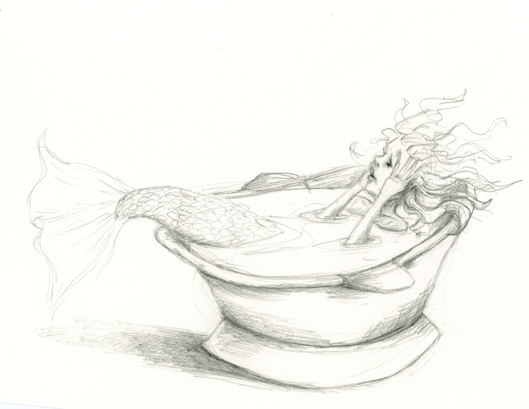 Pencil sketch of a mermaid in an old fashioned bath tub. Her body is under the water, but her tail is sticking out the end and her hands are on her cheeks. Her hair is wild and she has a surprised look on her face.