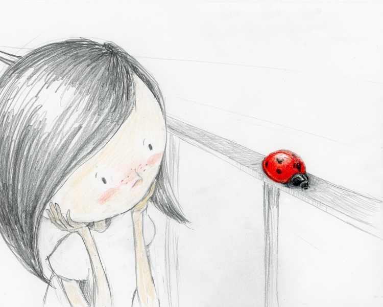 Pencil sketch of little girl sitting with elbows on knees and head resting in hands. She is looking to the side at a red ladybug on a railing.