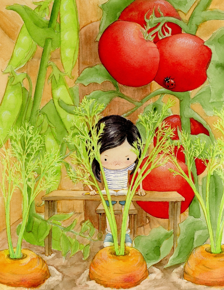 A little girl with short black hair, a striped t-shirt, blue shorts, and sneakers stands behind a table with a chair scooted back behind her looking over the front of the table. She has a slightly annoyed look on her face. She is in a treehouse and there is an open journal in front of her on the table. She is holding a pencil. In front of the table are giant carrots, the same size as she is, growing out of the floor. Behind her are equally giant tomatoes on the vine and pea pods growing behind her.