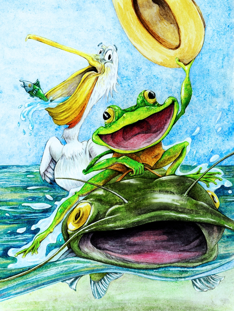 A bright green frog with an overjoyed expression waves a cowboy hat while riding on the back of a catfish on the surface of the water. A surprised pelican looks on with mouth wide open and a fish happily escaping being eaten.